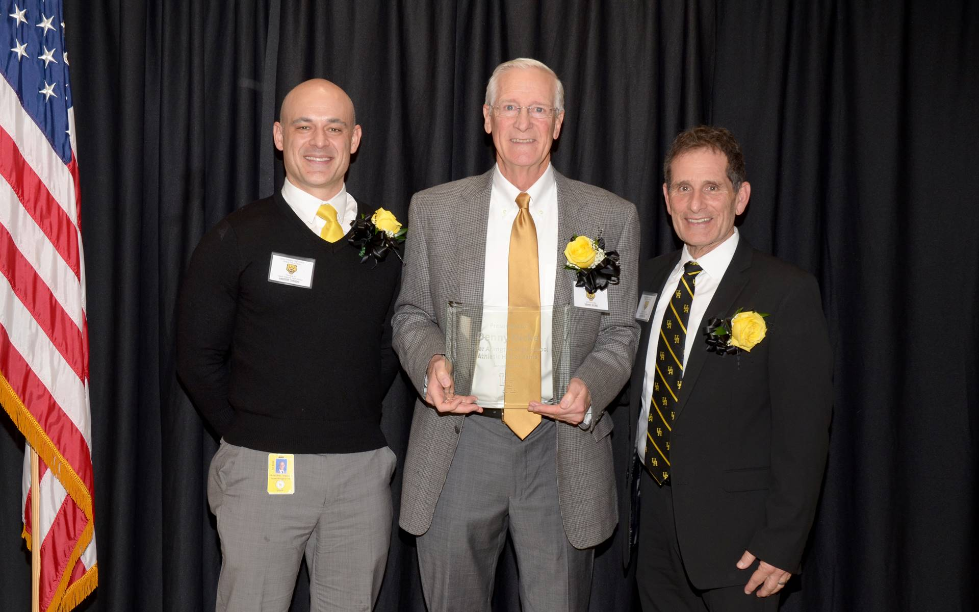 Inductee Denny Dicke with Principal Andrew Theado and Athletic Director Tony Pusateri