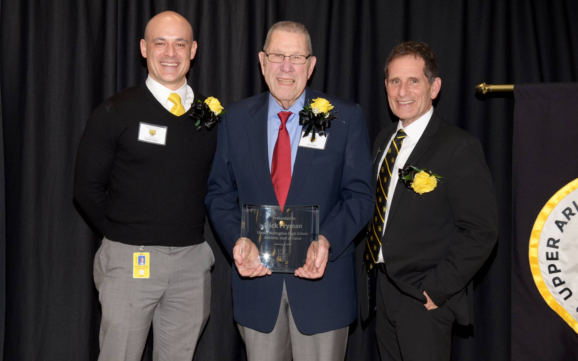 Inductee Dick Fryman with Principal Andrew Theado and Athletic Director Tony Pusateri