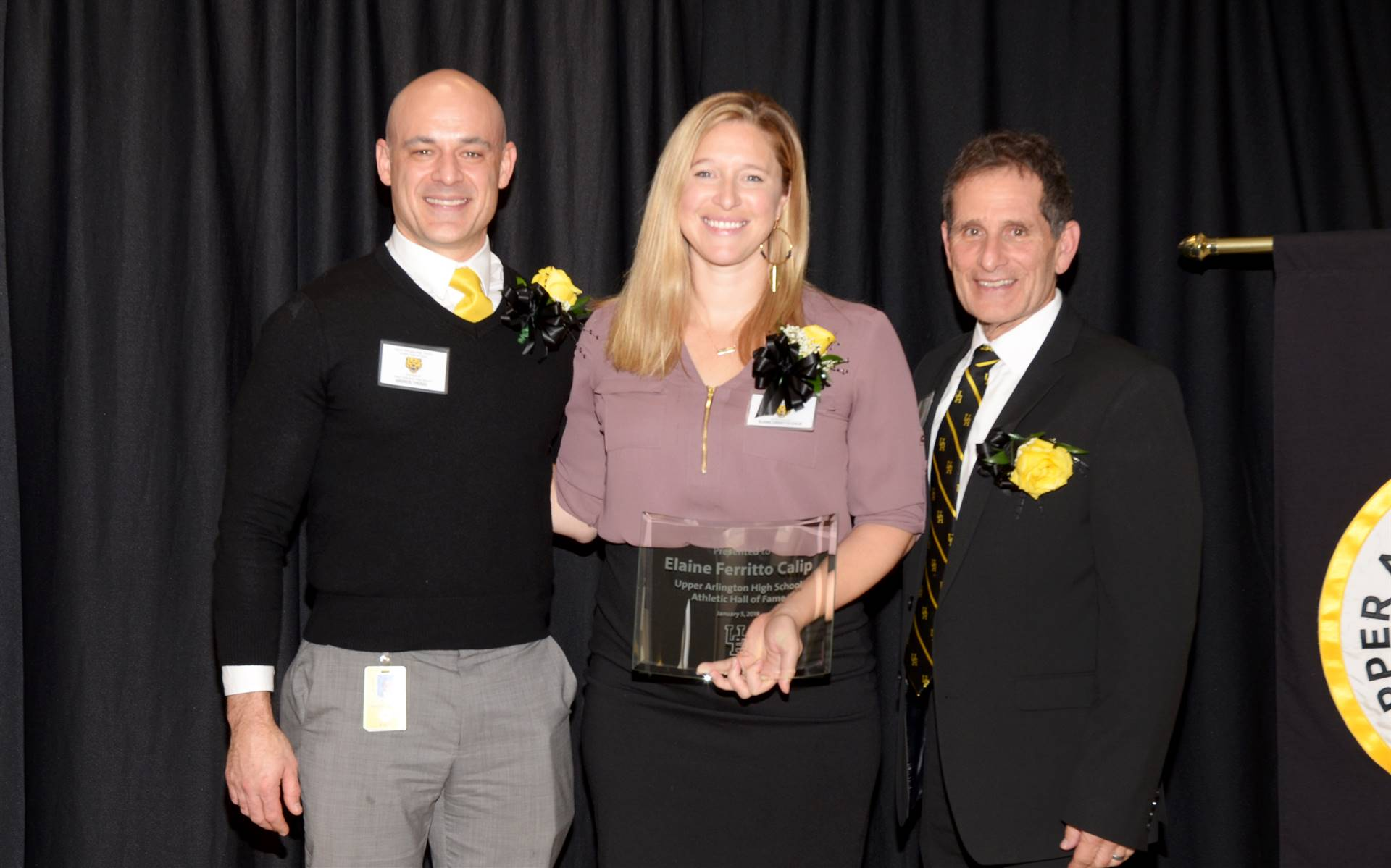 Inductee Elaine Ferritto Calip with Principal Andrew Theado and Athletic Director Tony Pusateri