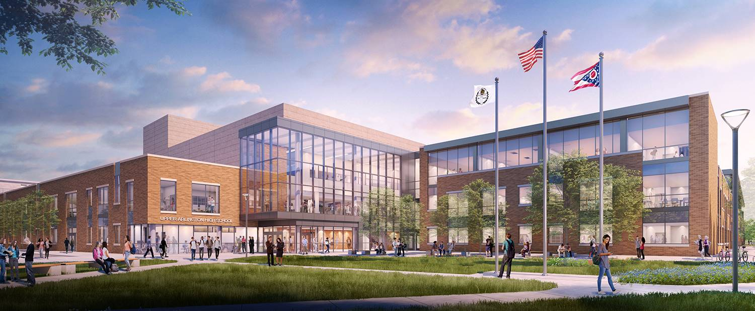 A rendering of the main entry to the new Upper Arlington High School