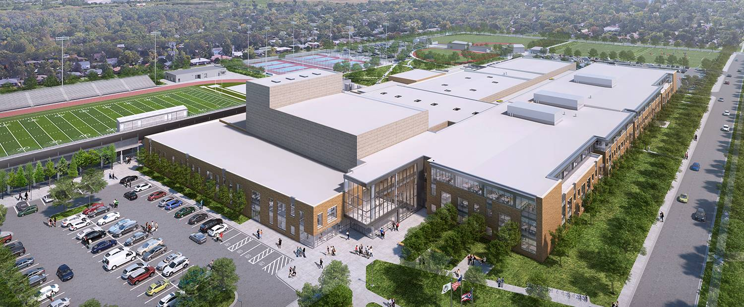 A rendering showing an aerial view of the new Upper Arlington High School