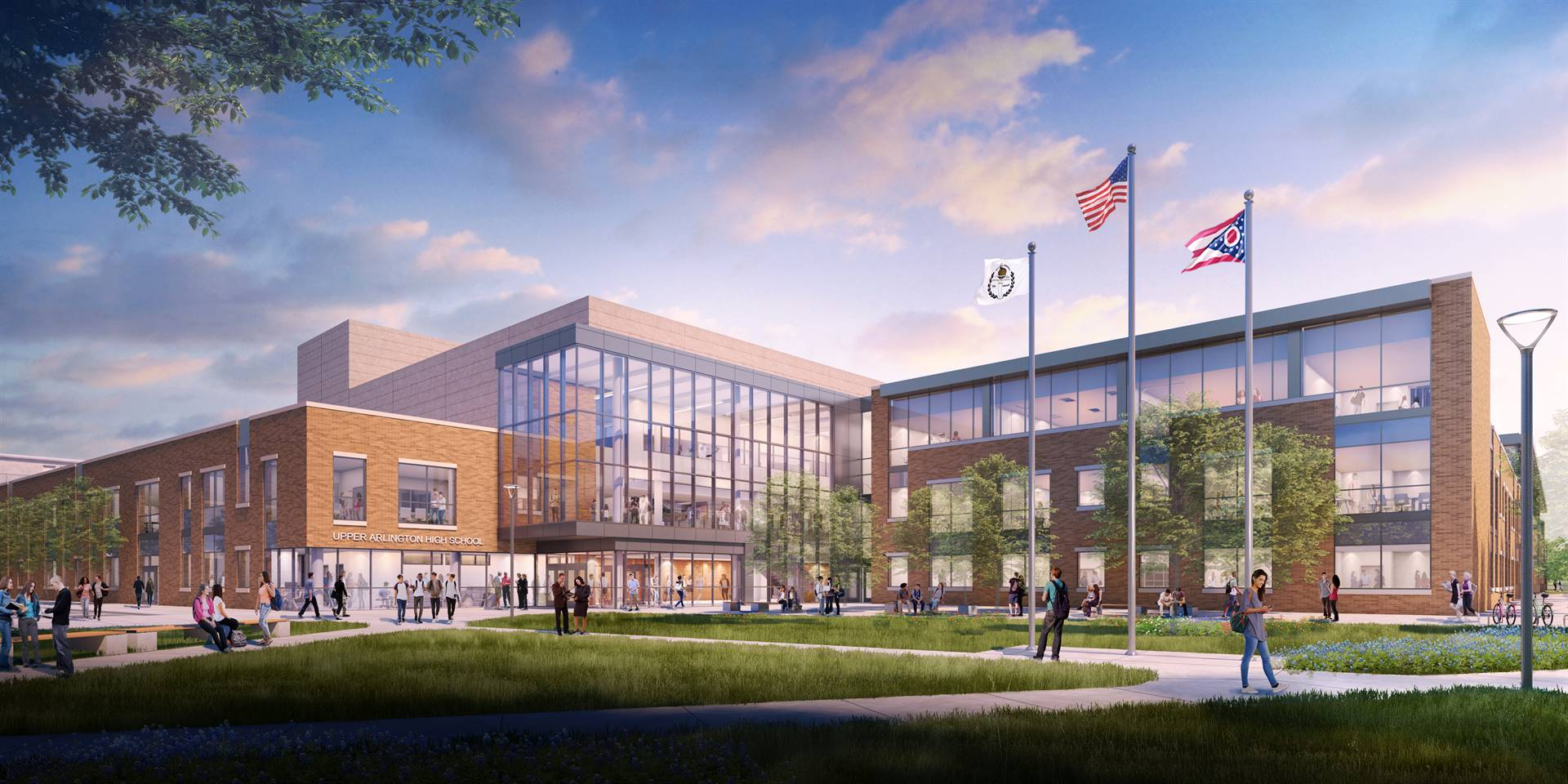 The main entrance to the new Upper Arlington High School