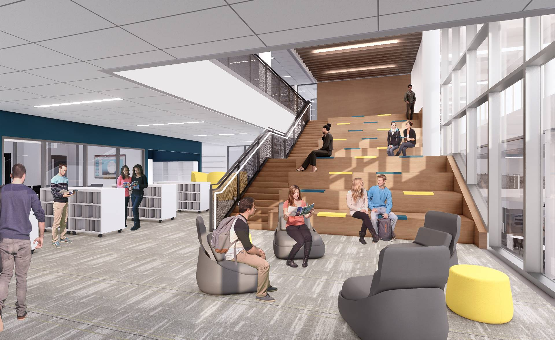 A rendering of the media center