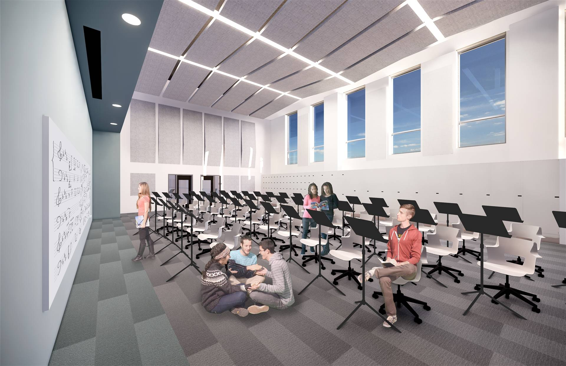 A rendering of a music room