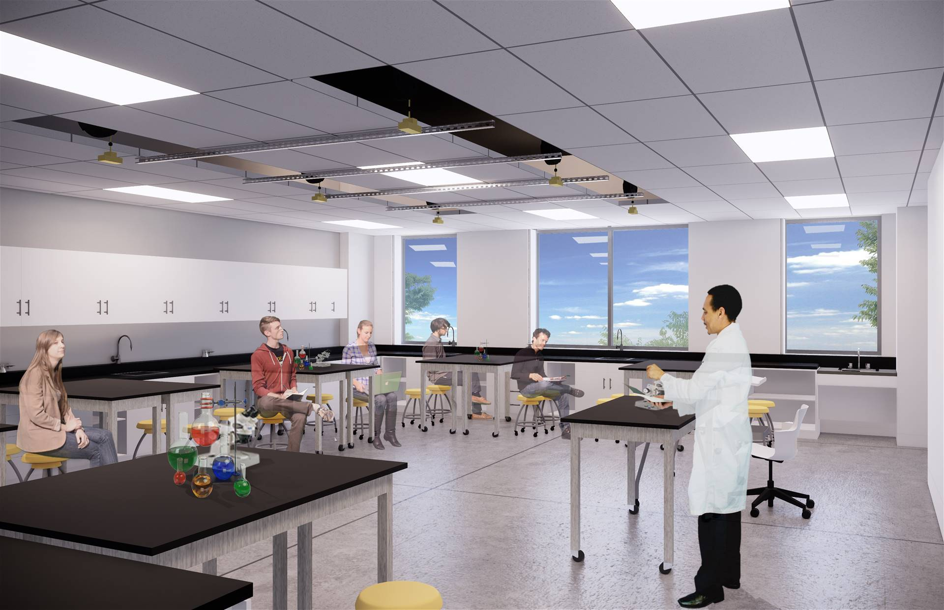A rendering of a science studio classroom