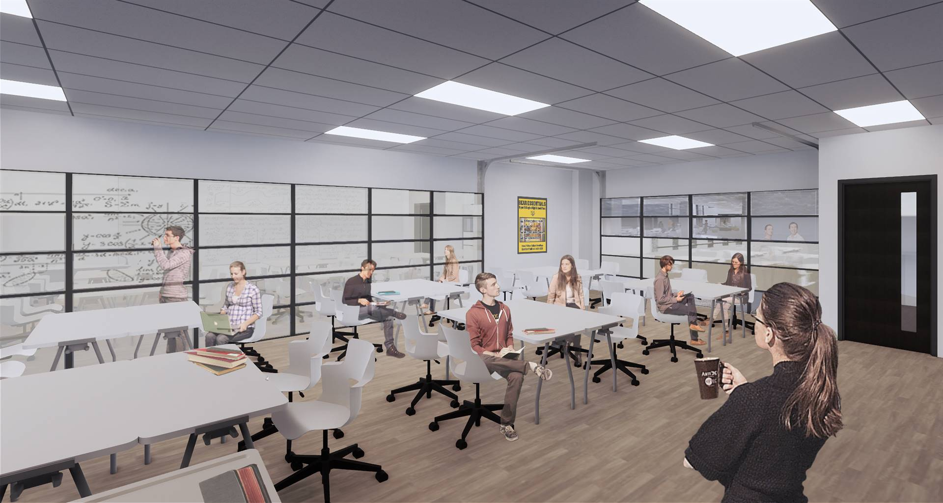 A rendering of a studio classroom