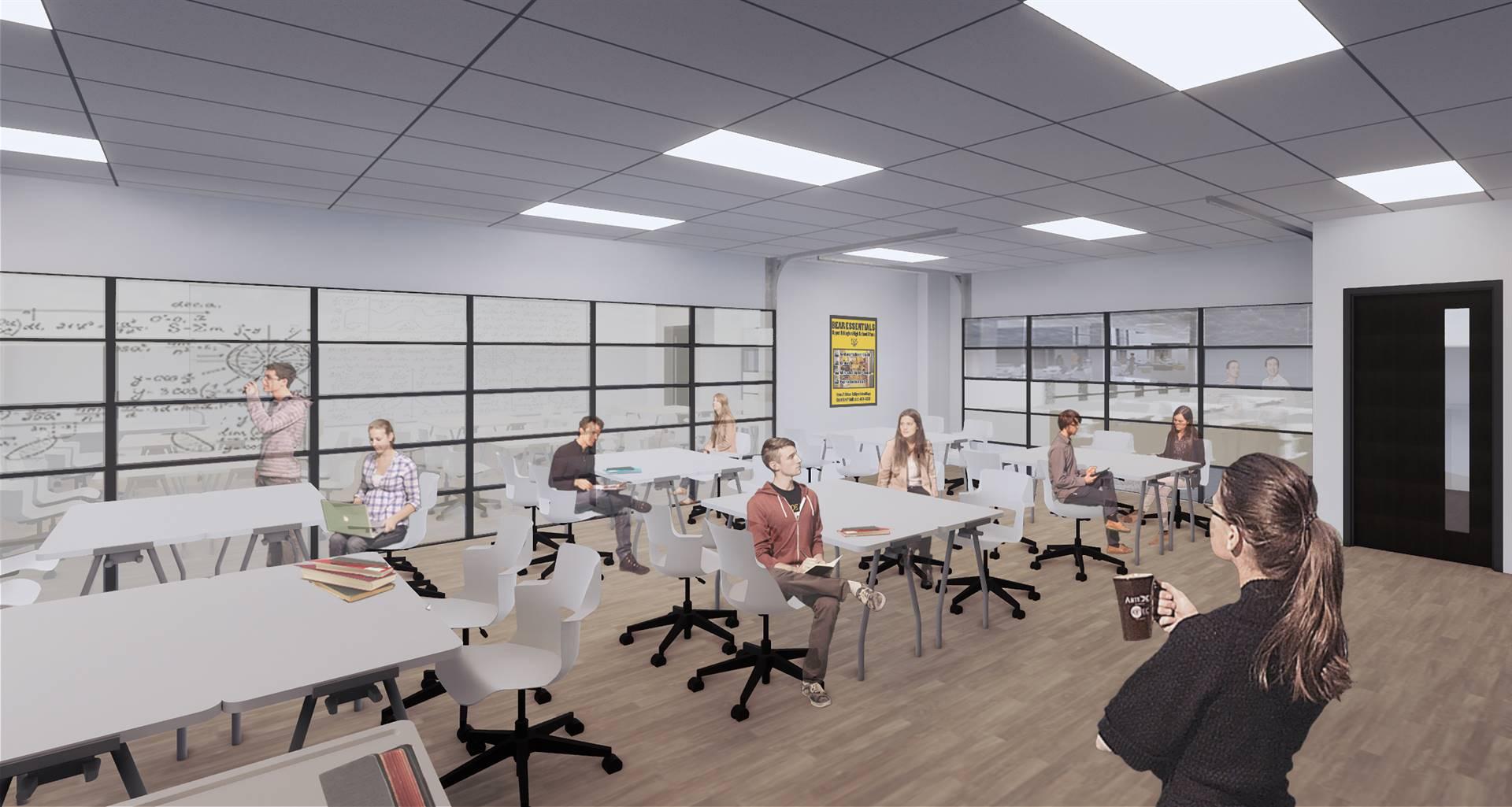 A rendering of a studio classroom