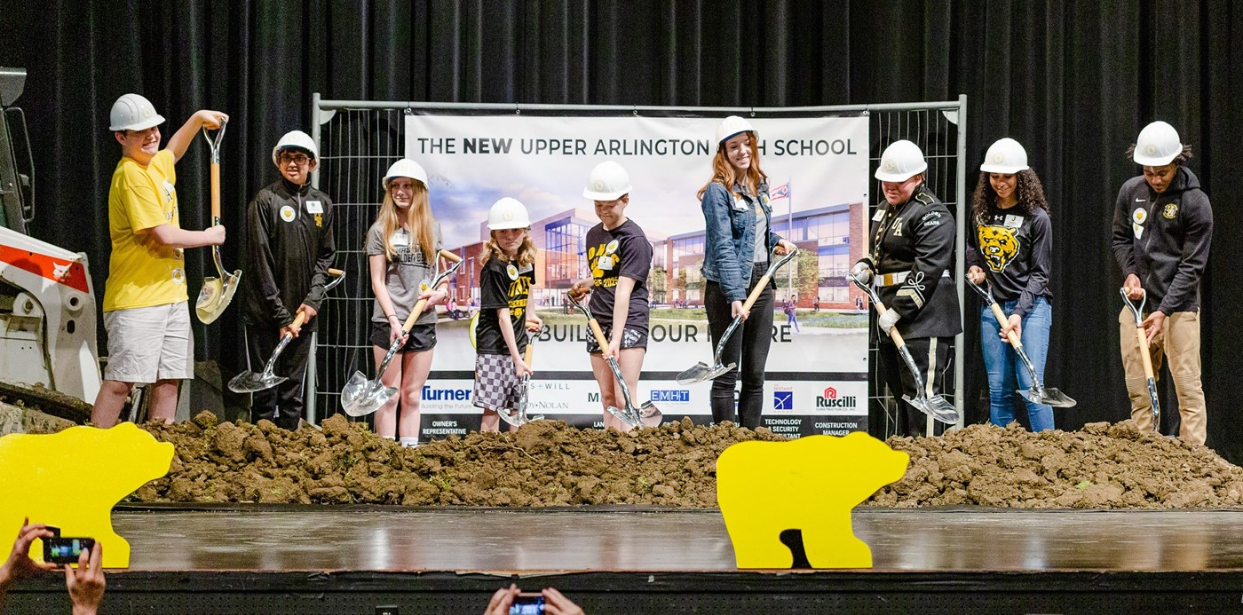 Student ambassadors from the high school and middle school at the groundbreaking ceremony for the new Upper Arlington High School