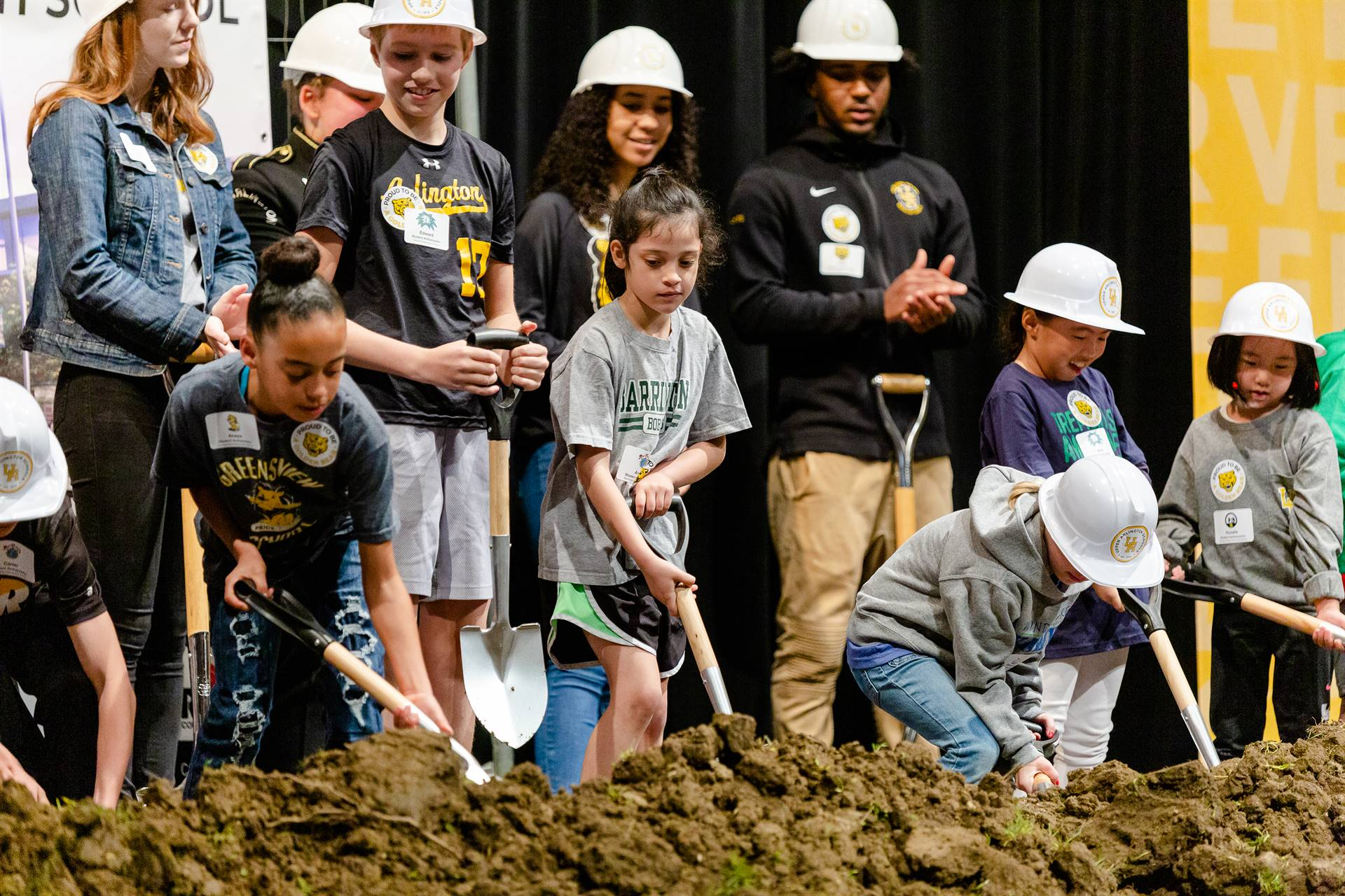 Elementary student ambassadors breaking ground