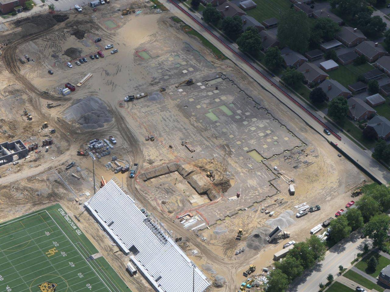 Aerial of the outline for the new high school building