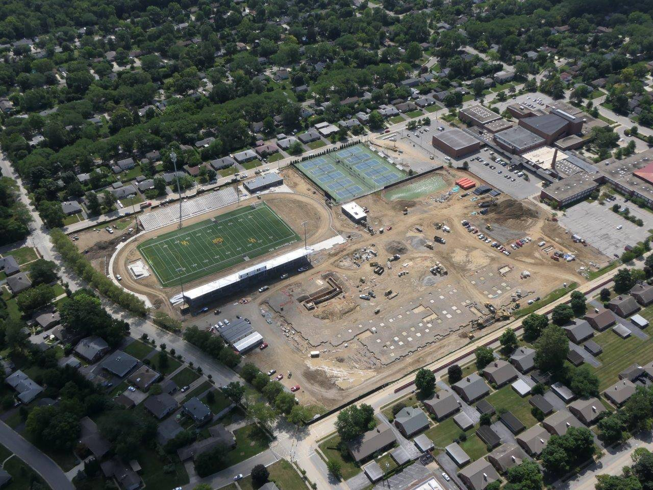 Aerial of the high school site looking southwest