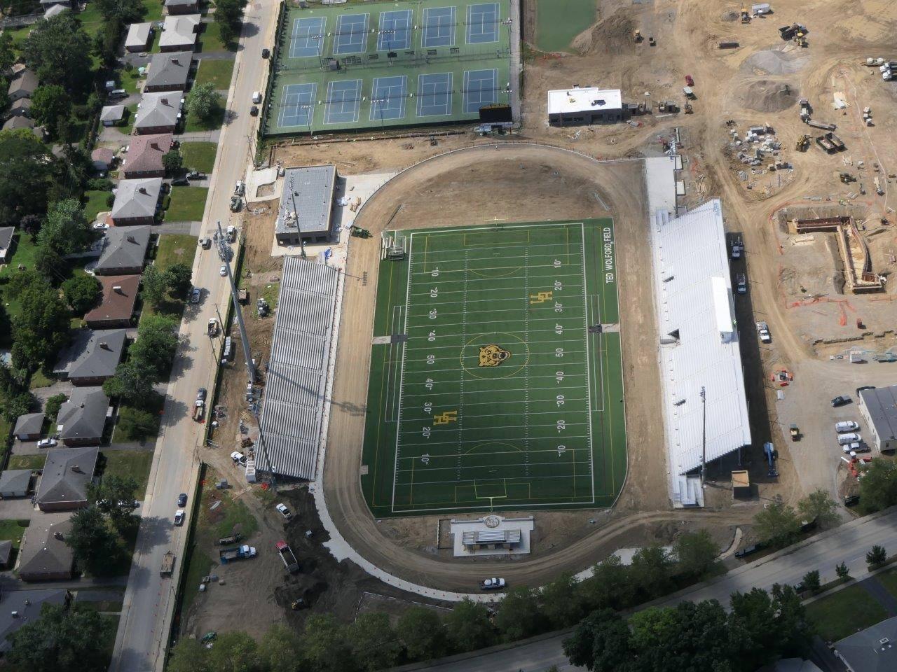 Progress on the new home bleachers and stadium renovation, July 2019