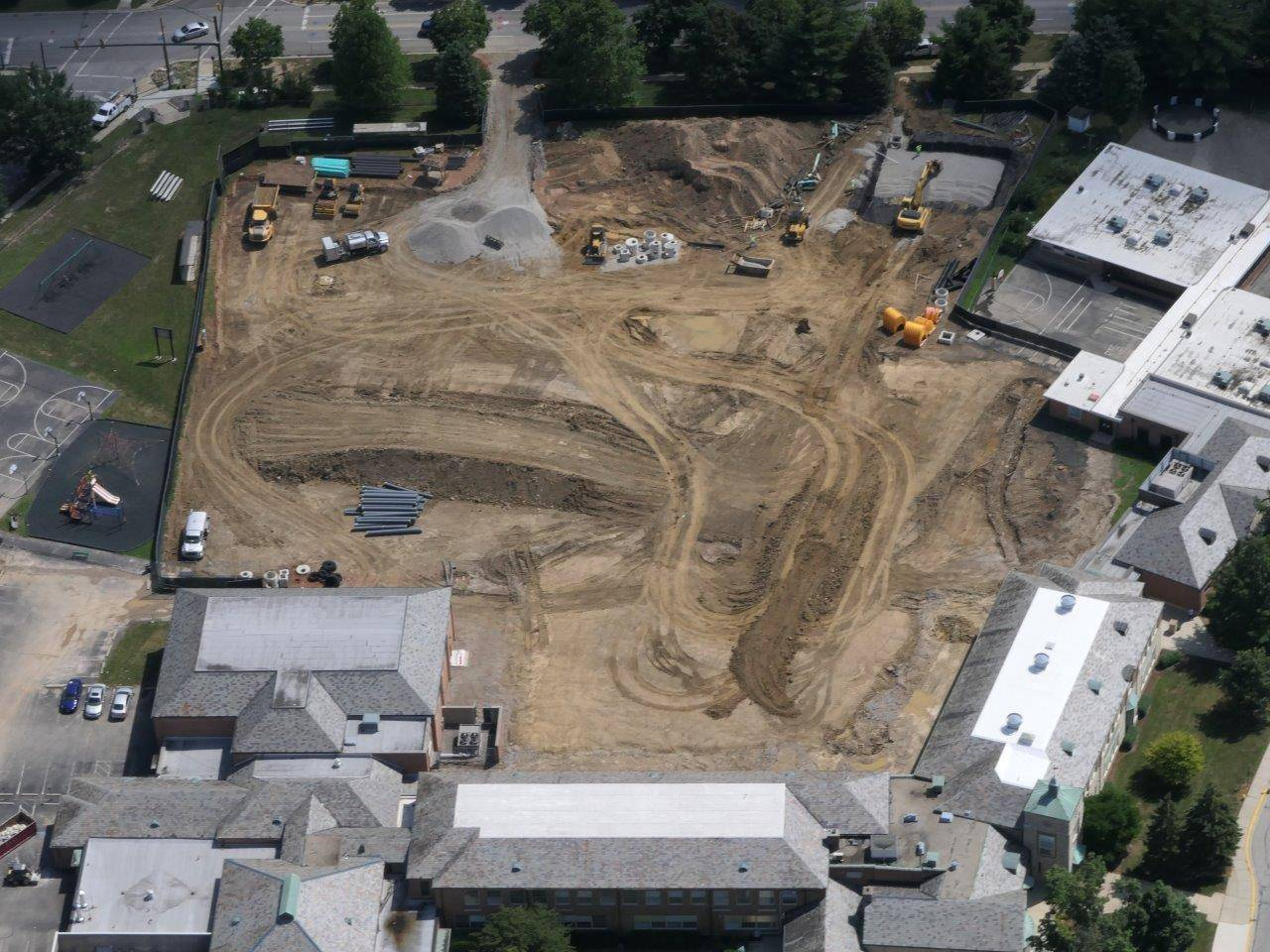 Aerial of the construction site for the addition to Barrington Elementary, July 2019