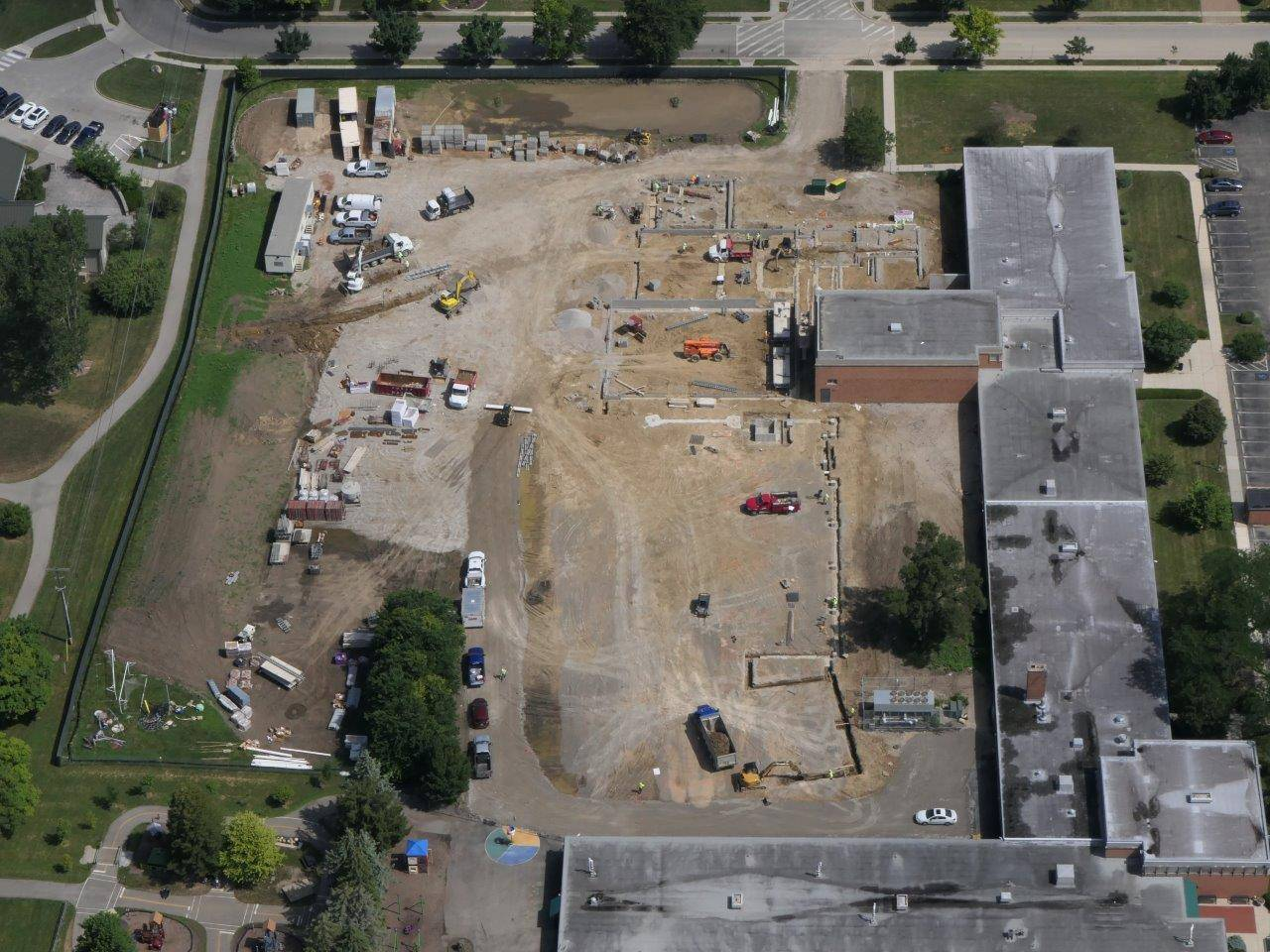 Aerial of the construction site for the new Greensview Elementary, July 2019