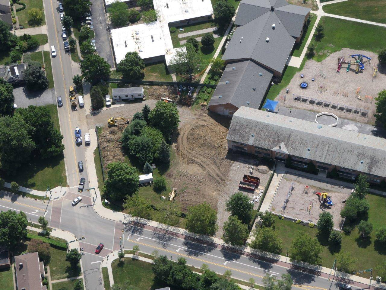 Aerial of the construction site for the addition to Tremont Elementary, July 2019
