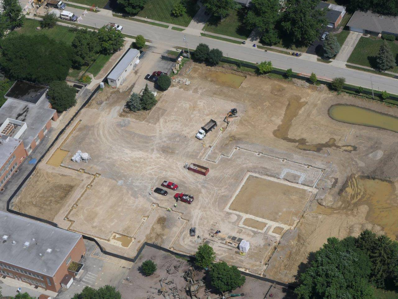 Aerial of the site of the new Wickliffe elementary, July 2019