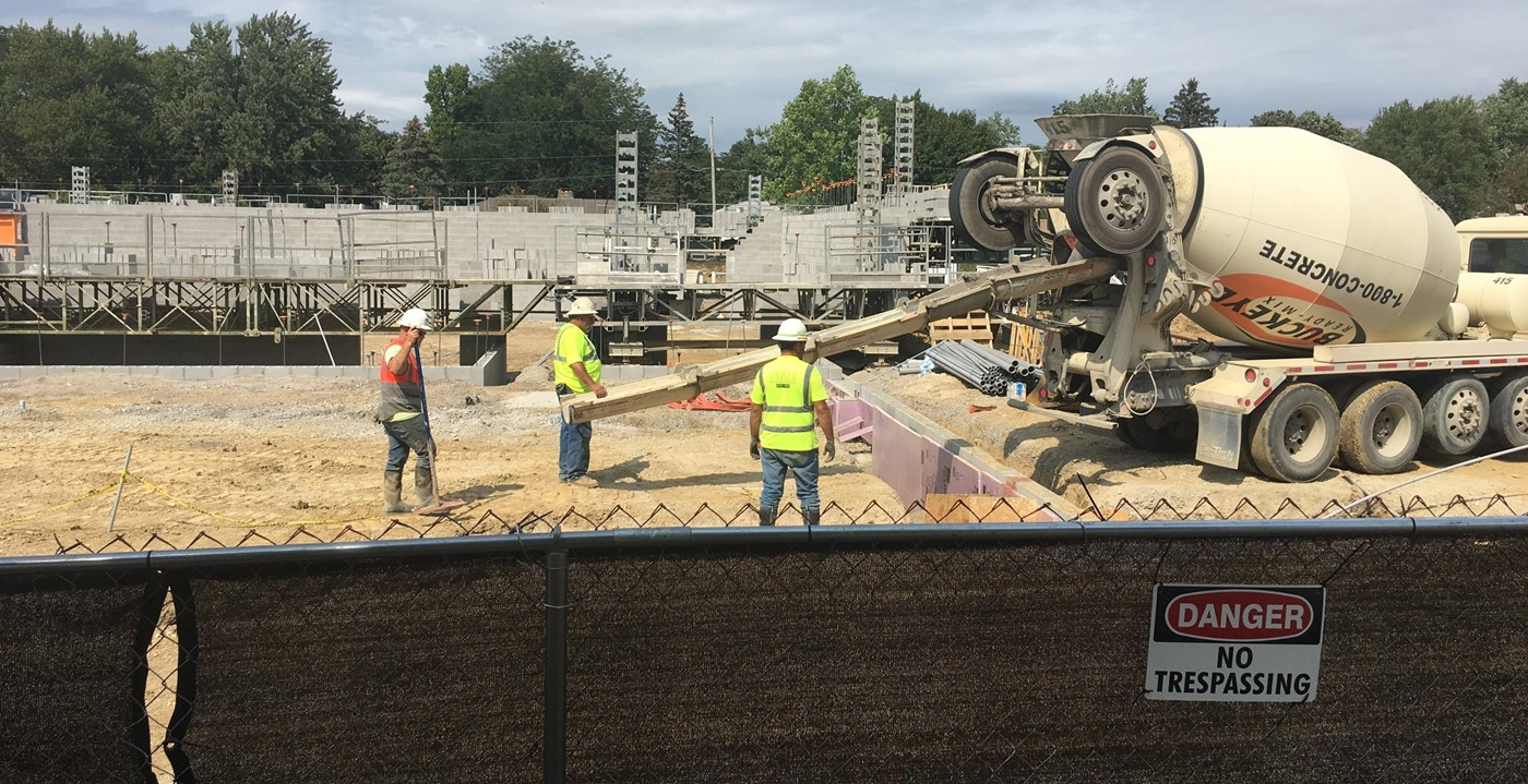Cement truck on new Wickliffe construction site