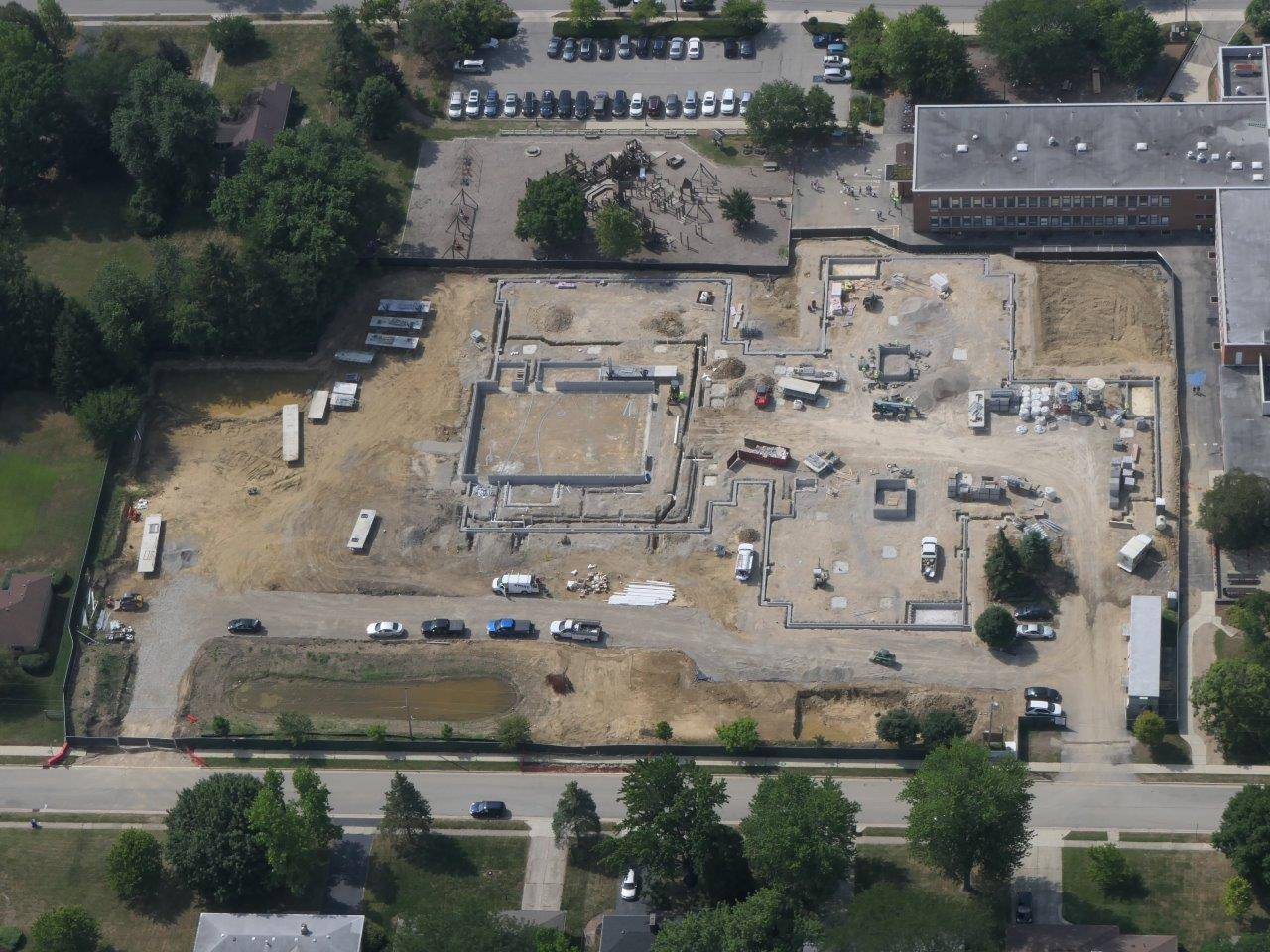 An aerial of the site for the new Wickliffe Progressive Elementary School