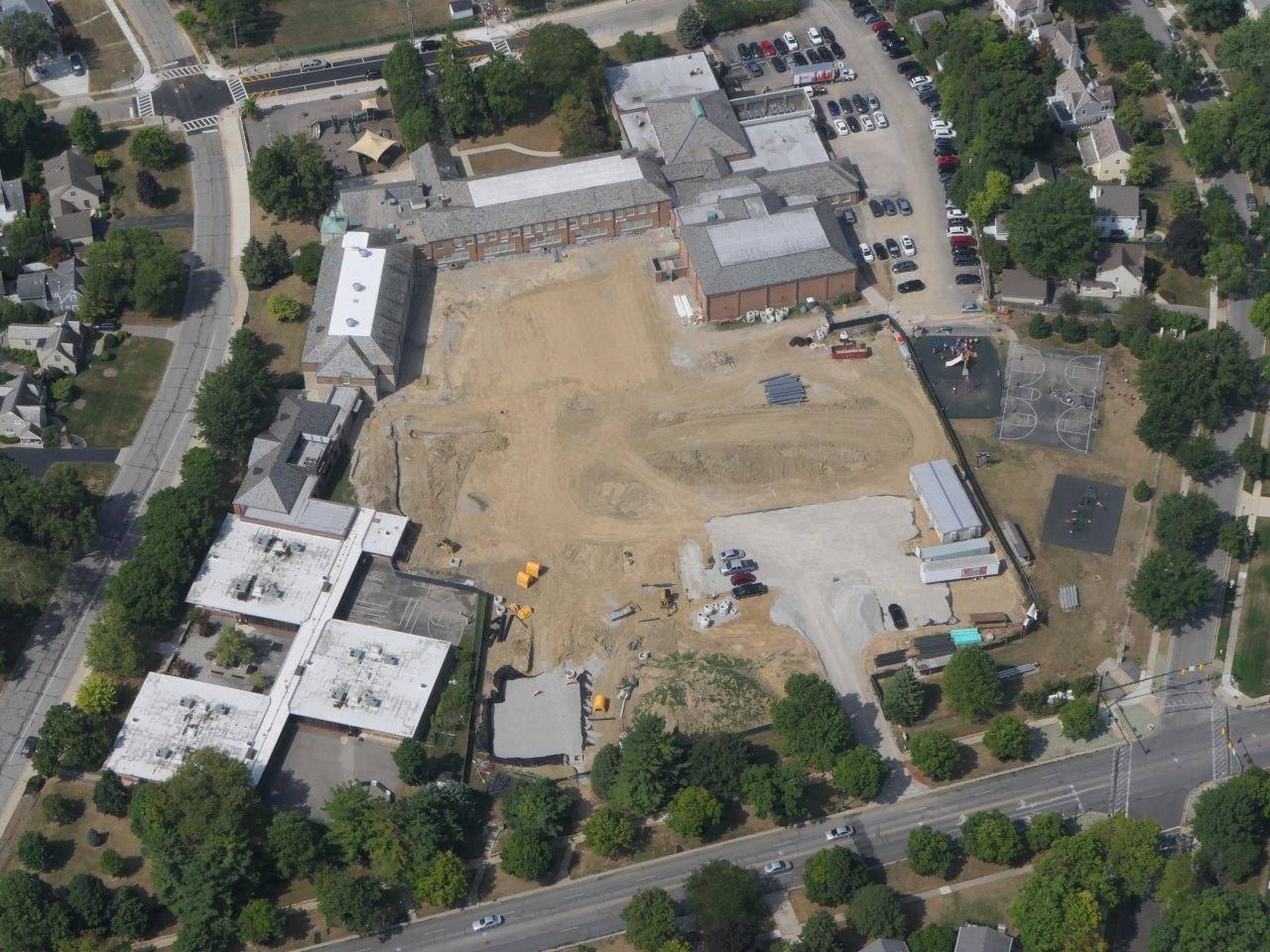 An aerial of the project site at Barrington Elementary School