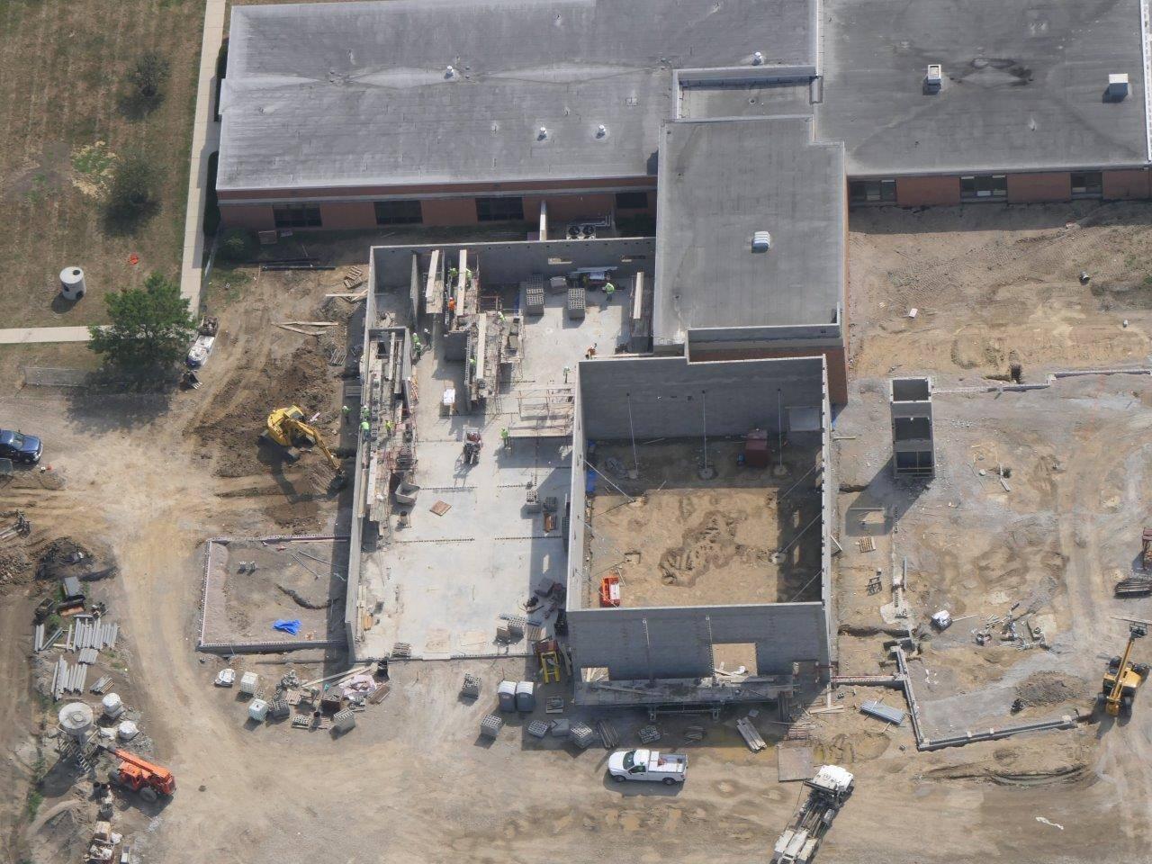 Progress on the masonry walls for the new Greensivew Elementary School gymnasium