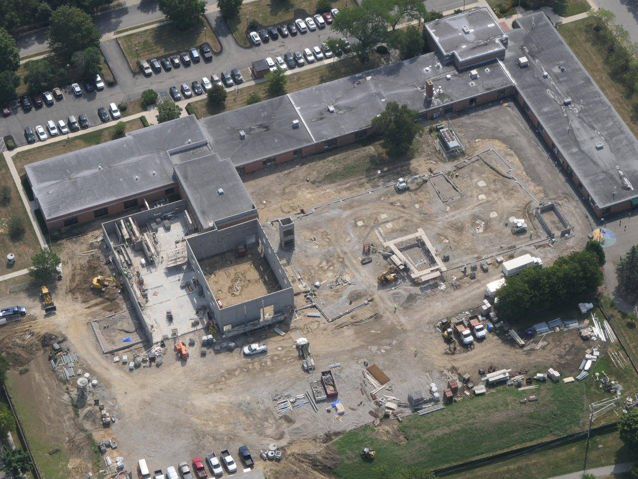 An aerial of the project site for the new Greensview Elementary School