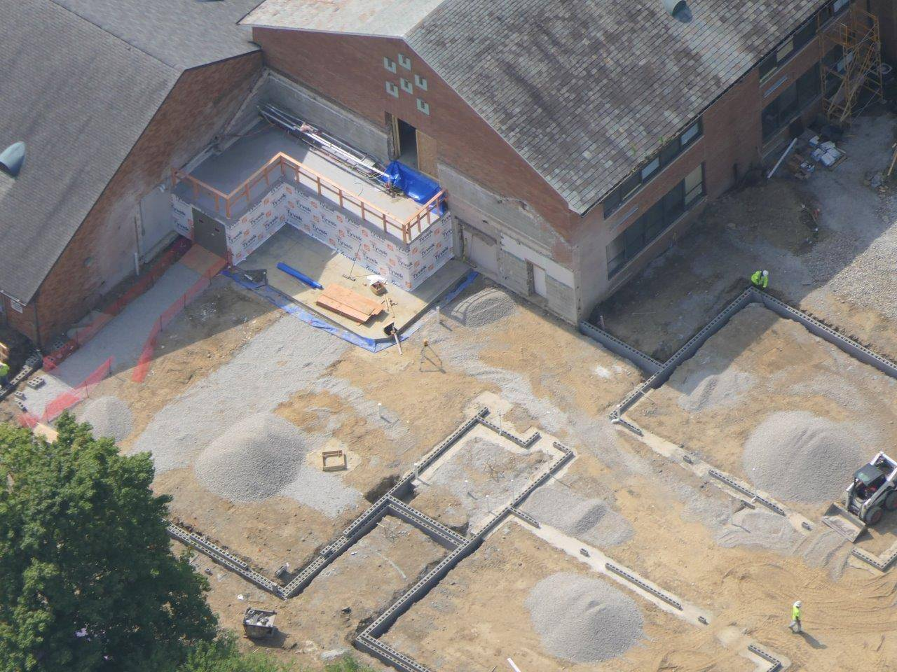 A close-up of the progress on the addition to Tremont Elementary School