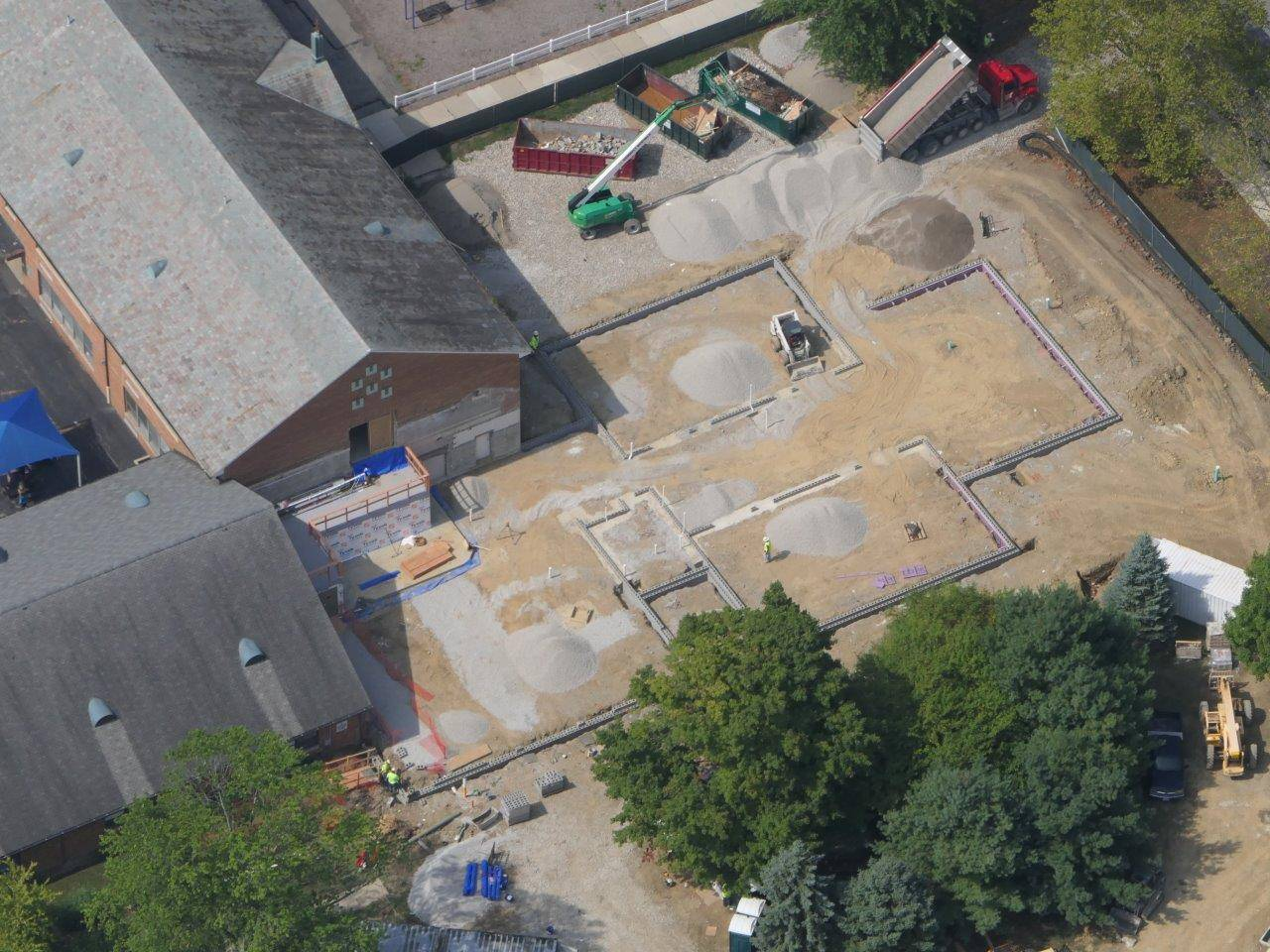 An aerial of the site for the addition to Tremont Elementary School