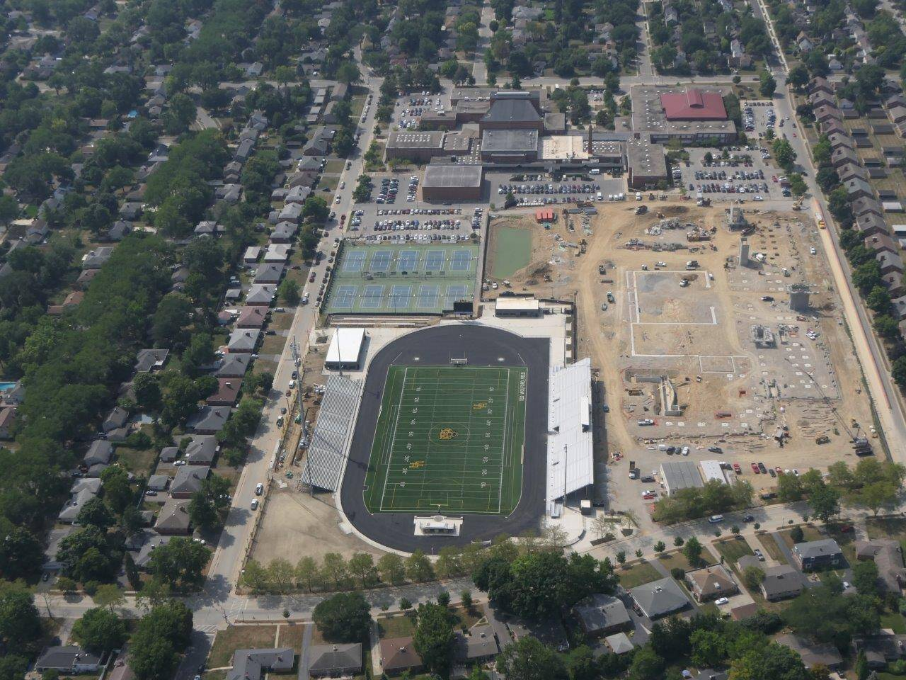 An aerial of the Upper Arlington High School site