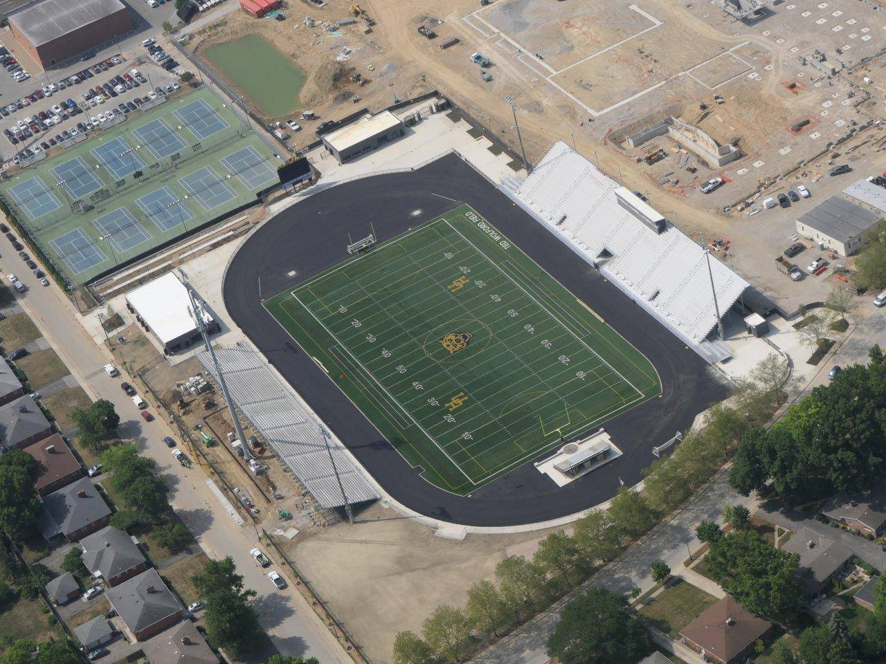 An aerial of the renovation to Marv Moorehead Memorial Stadium