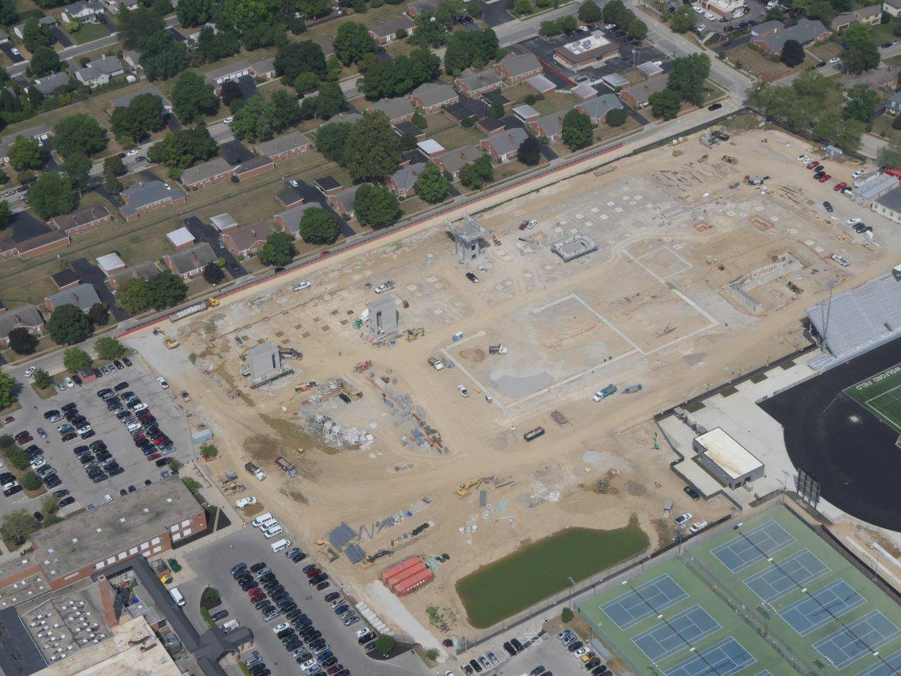 An aerial of the site for the new Upper Arlington High School building