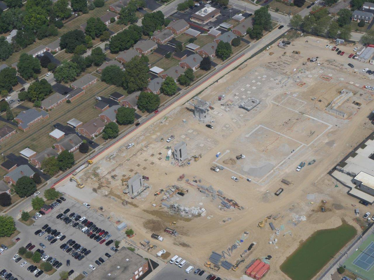 An aerial showing the footer and foundation work on the new high school