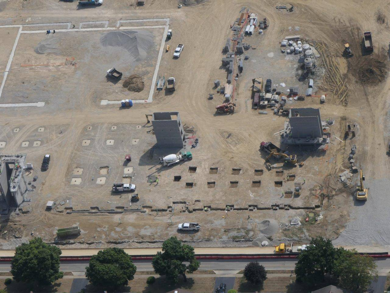 An aerial of stair towers underway for the new high school