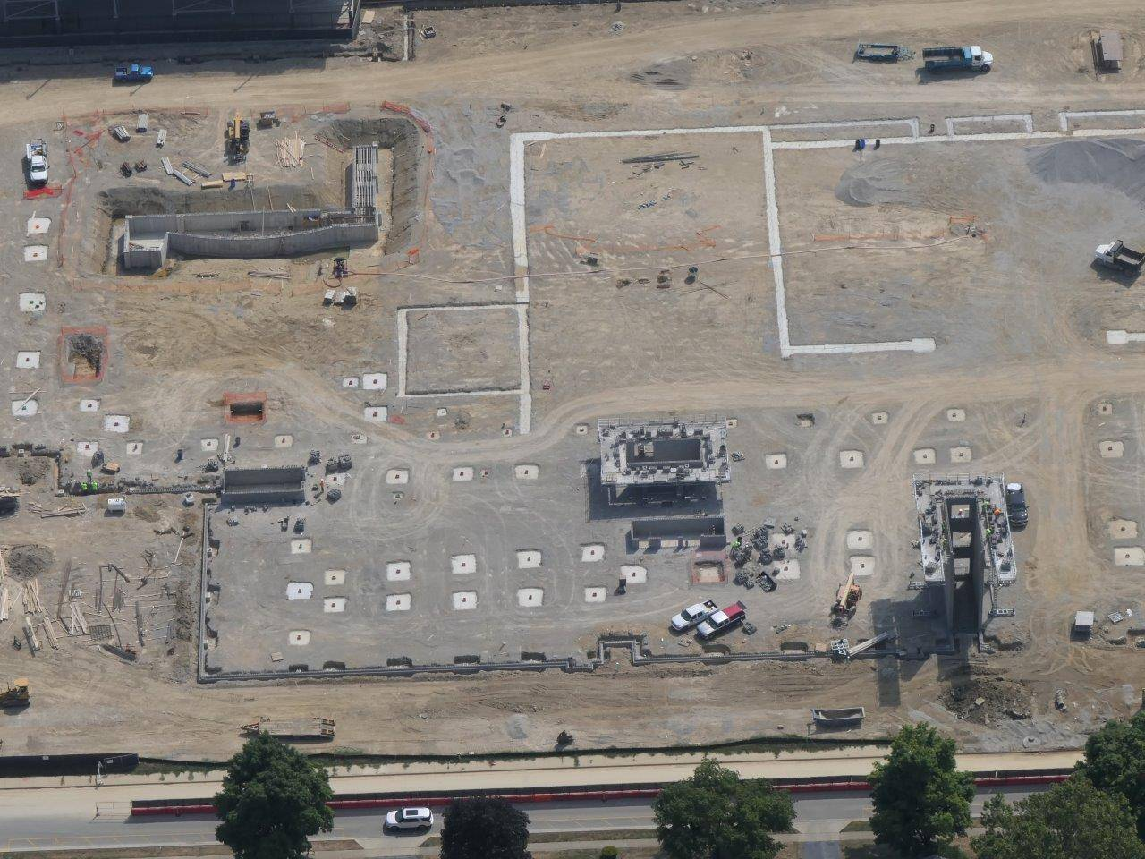 An aerial showing the stair towers and orchestra pit