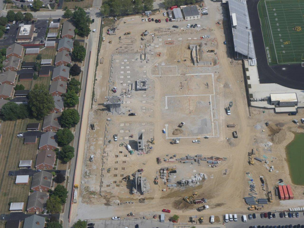 An aerial looking north at the site of the new high school building