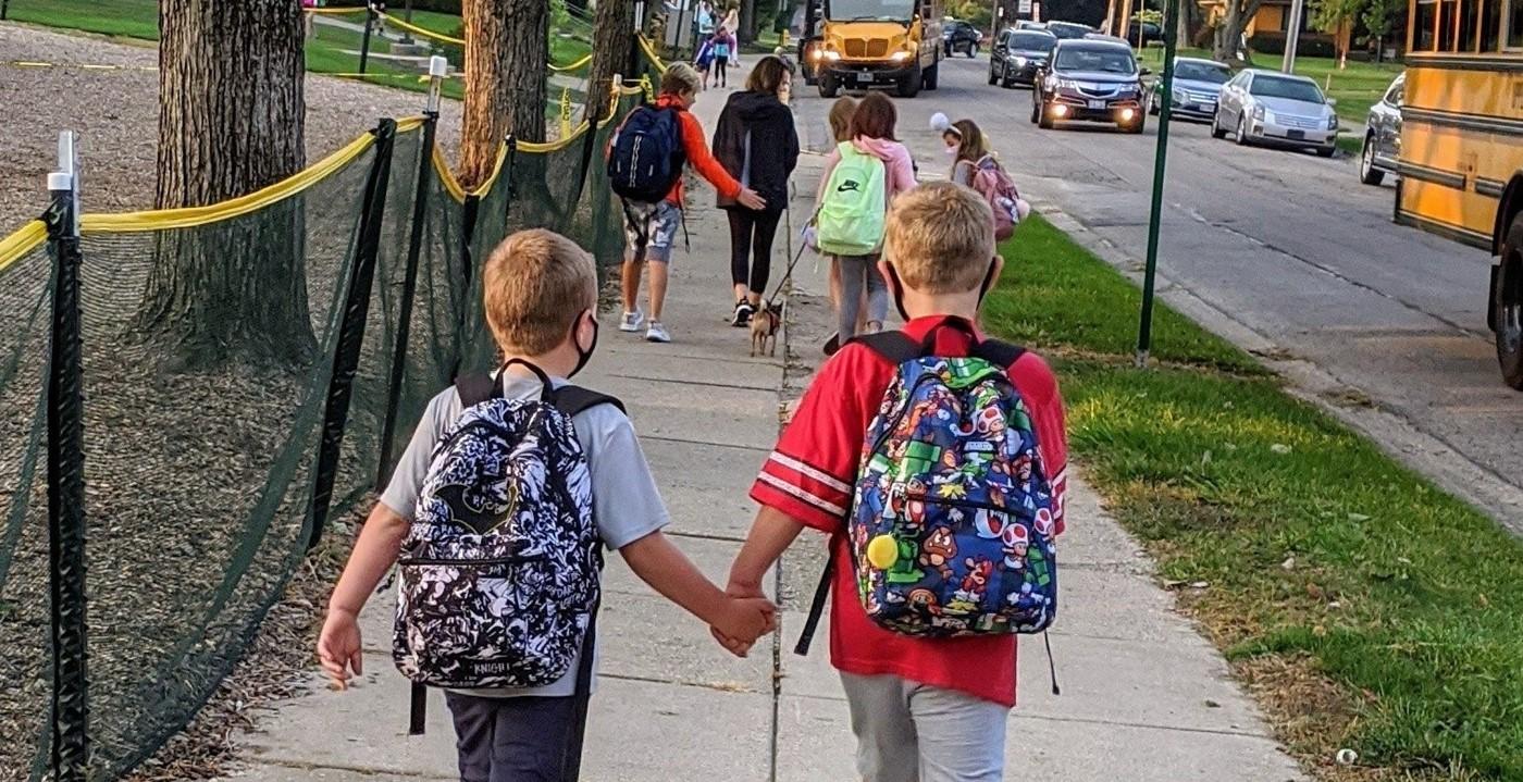 Families walking to school