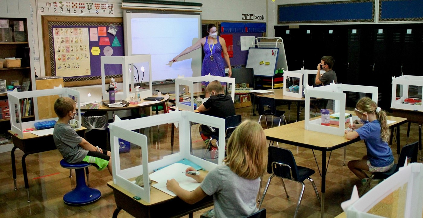 Students learning in a classroom