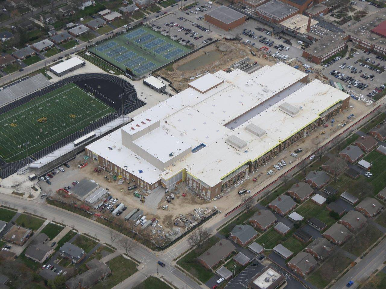 An aerial view of the new Upper Arlington High School