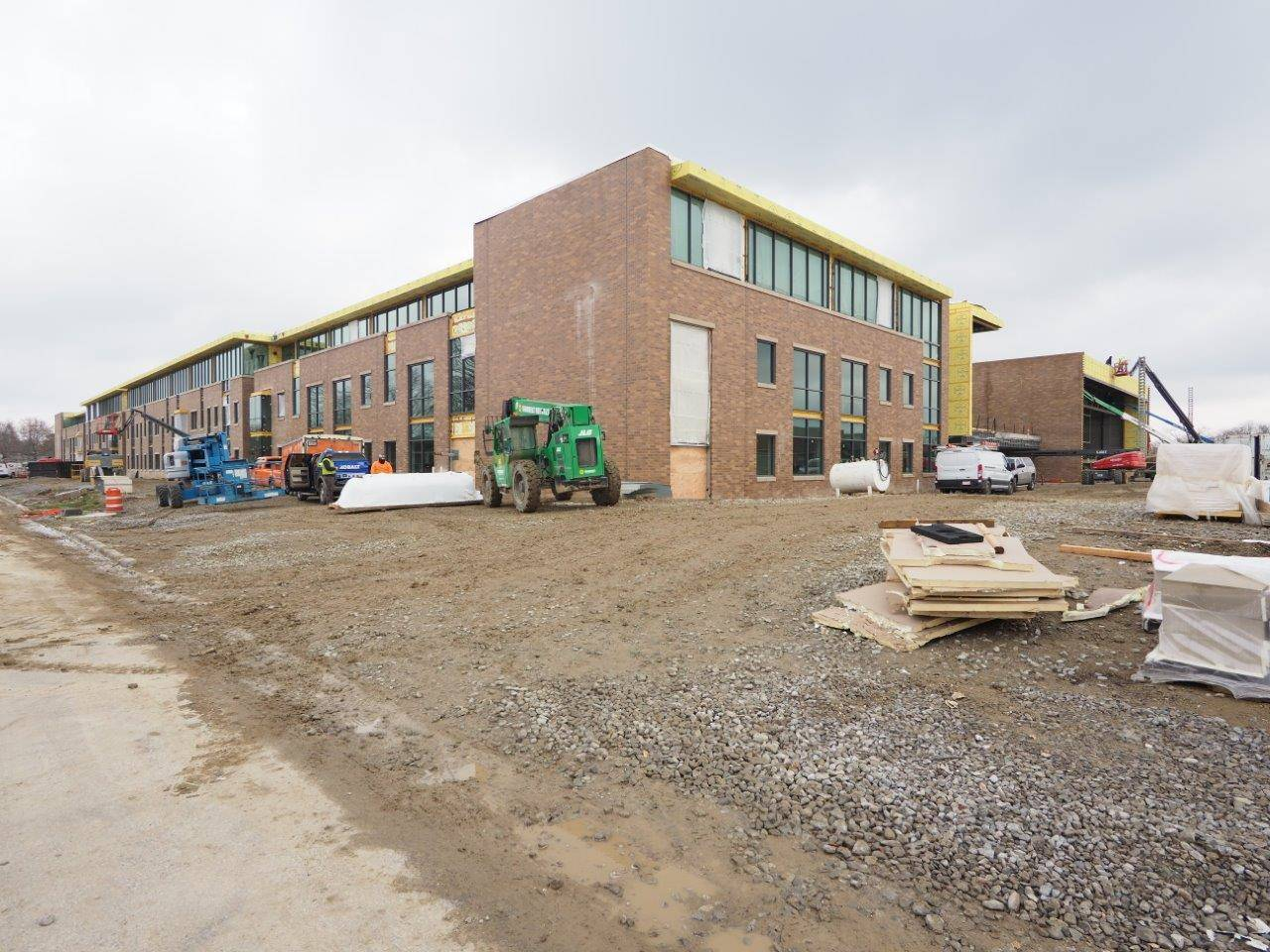 A ground level view of the new high school
