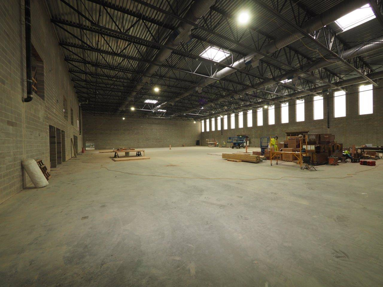 Inside the competition gymnasium at the new high school