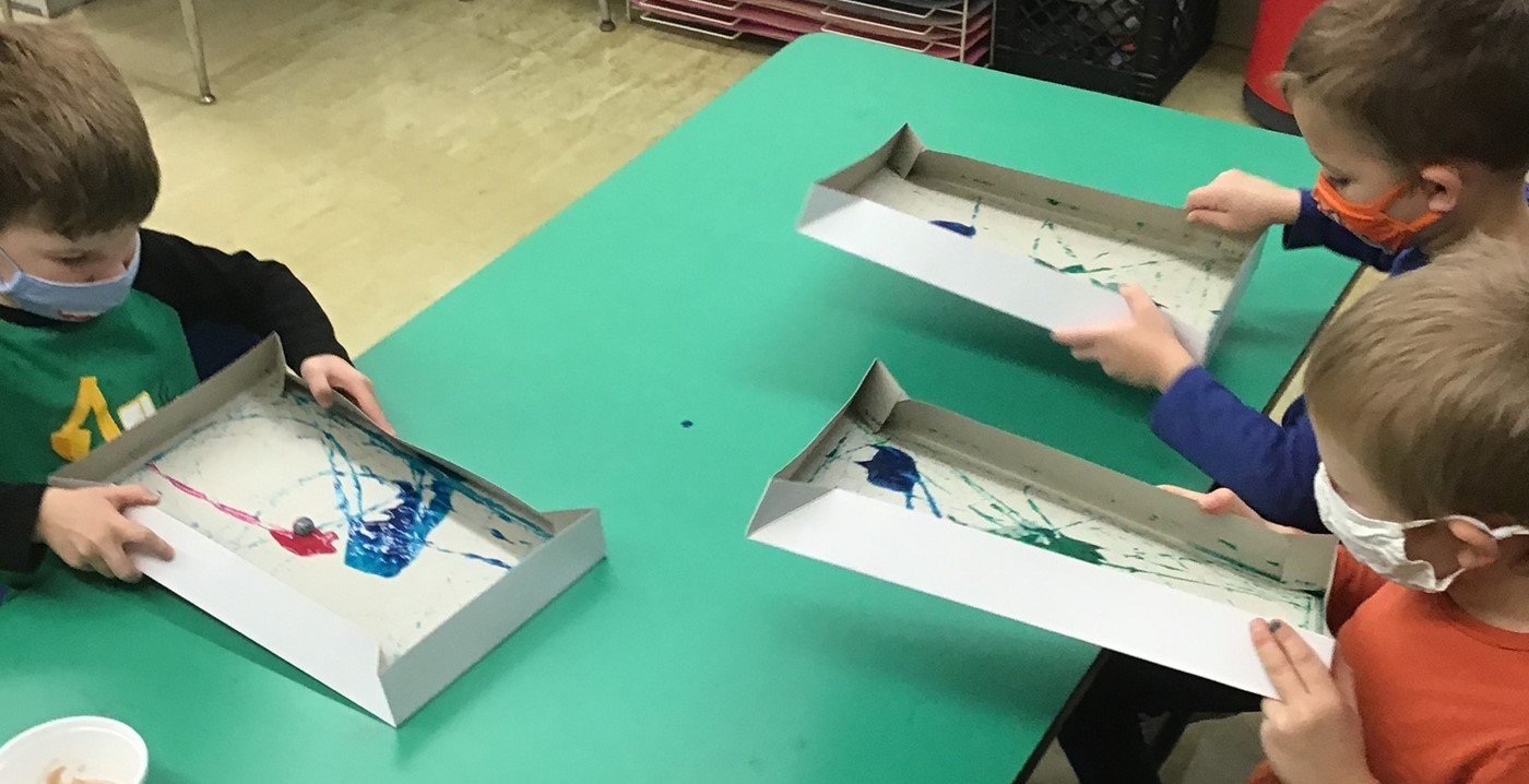 Children doing marble art