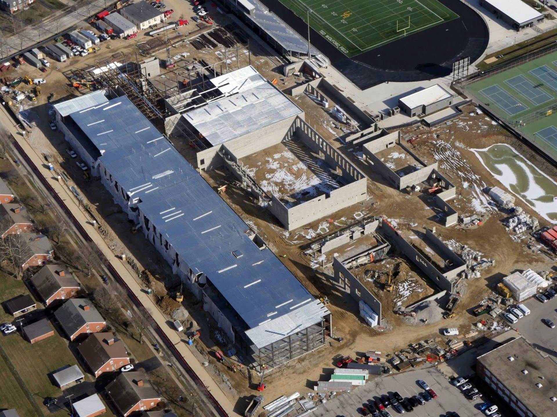 An aerial of the new Upper Arlington High School
