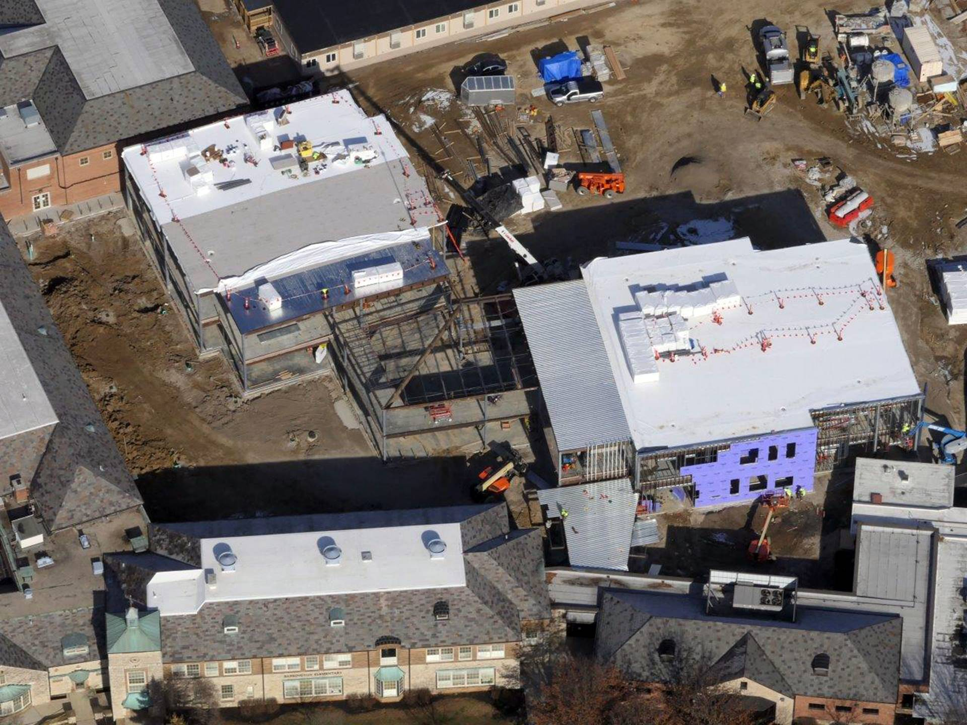 An aerial of the Barrington Elementary School project