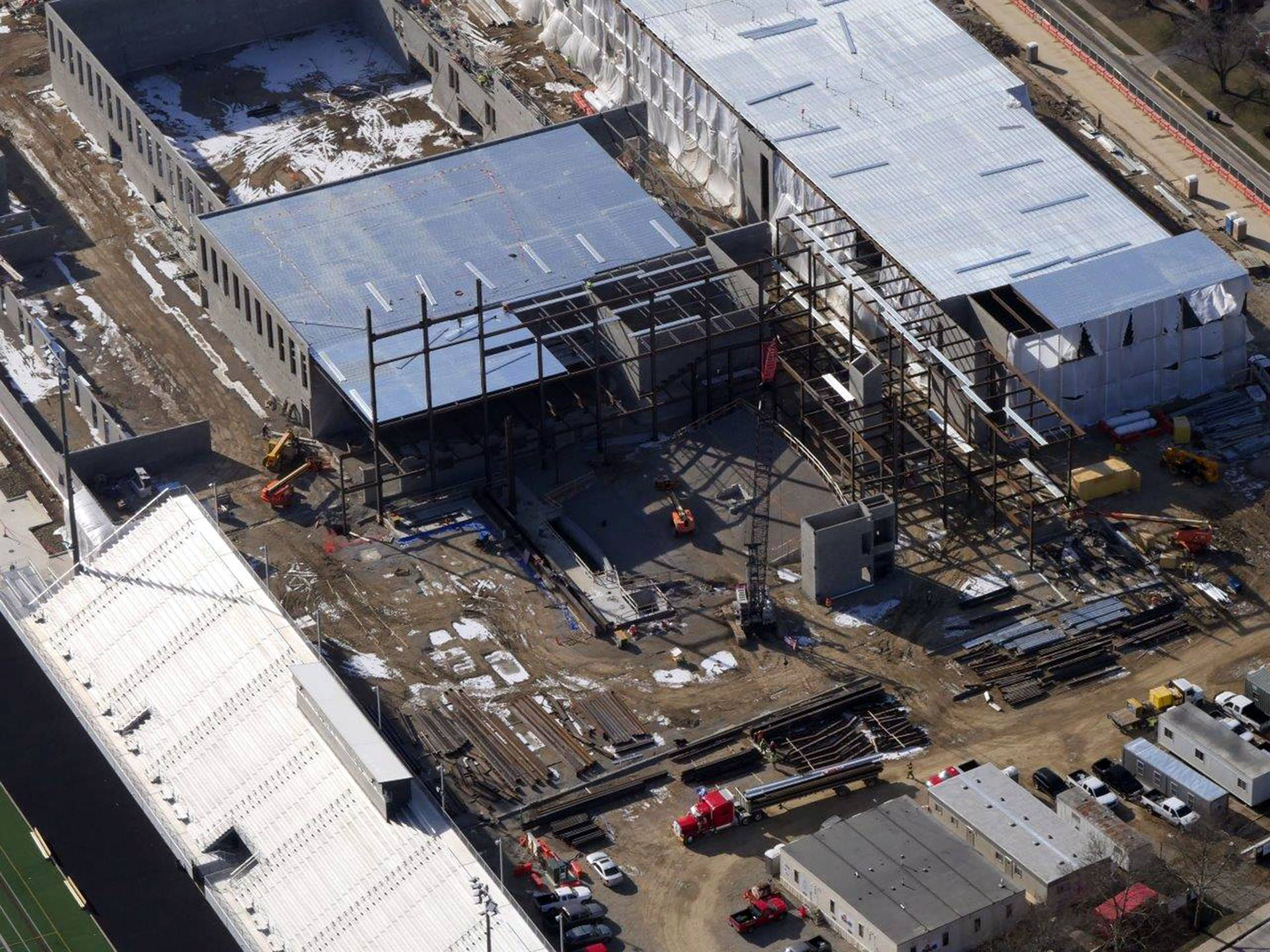 An aerial of steel work in the theater of the new Upper Arlington High School