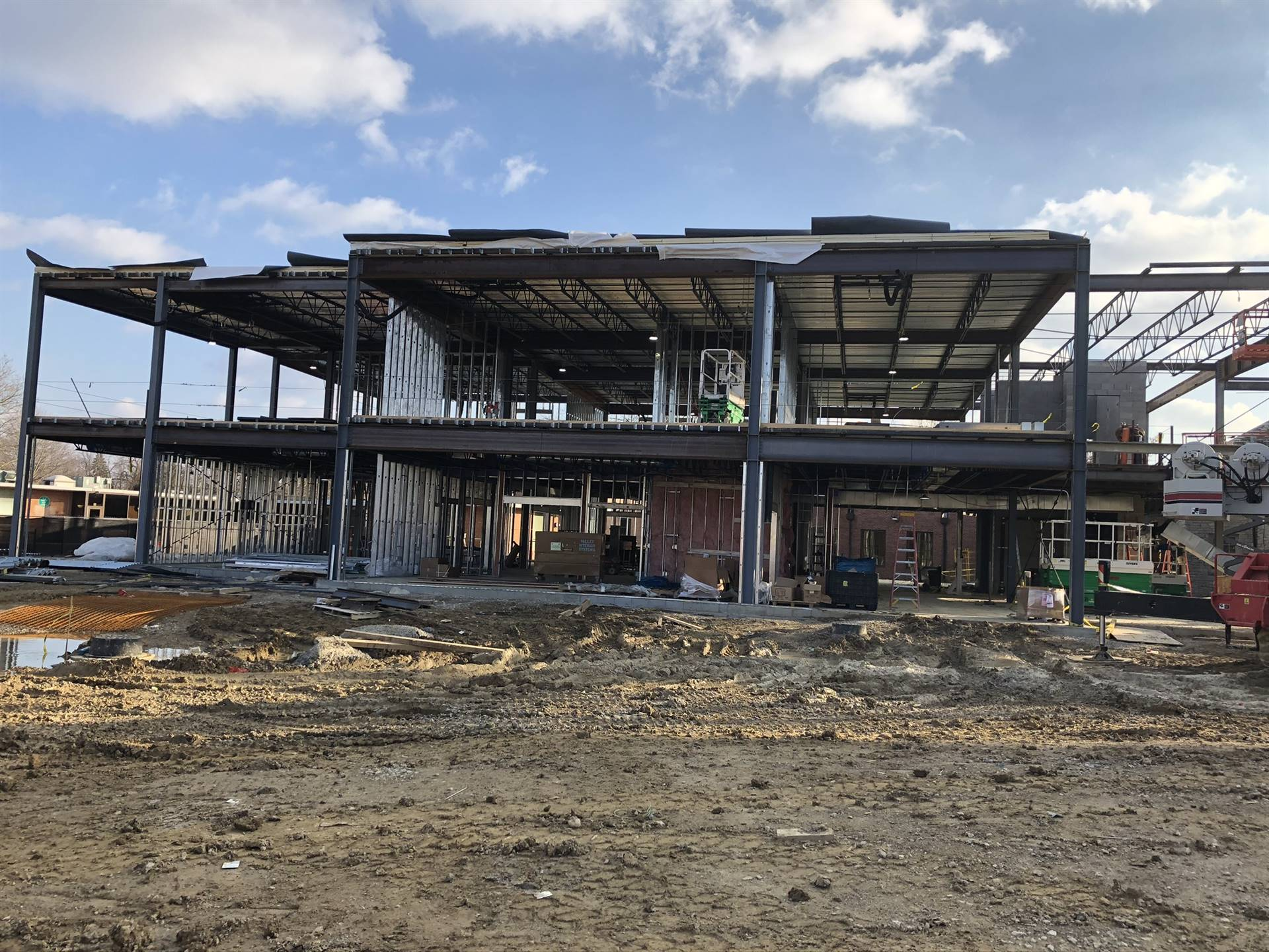 Steel work on the Barrington Elementary School addition project