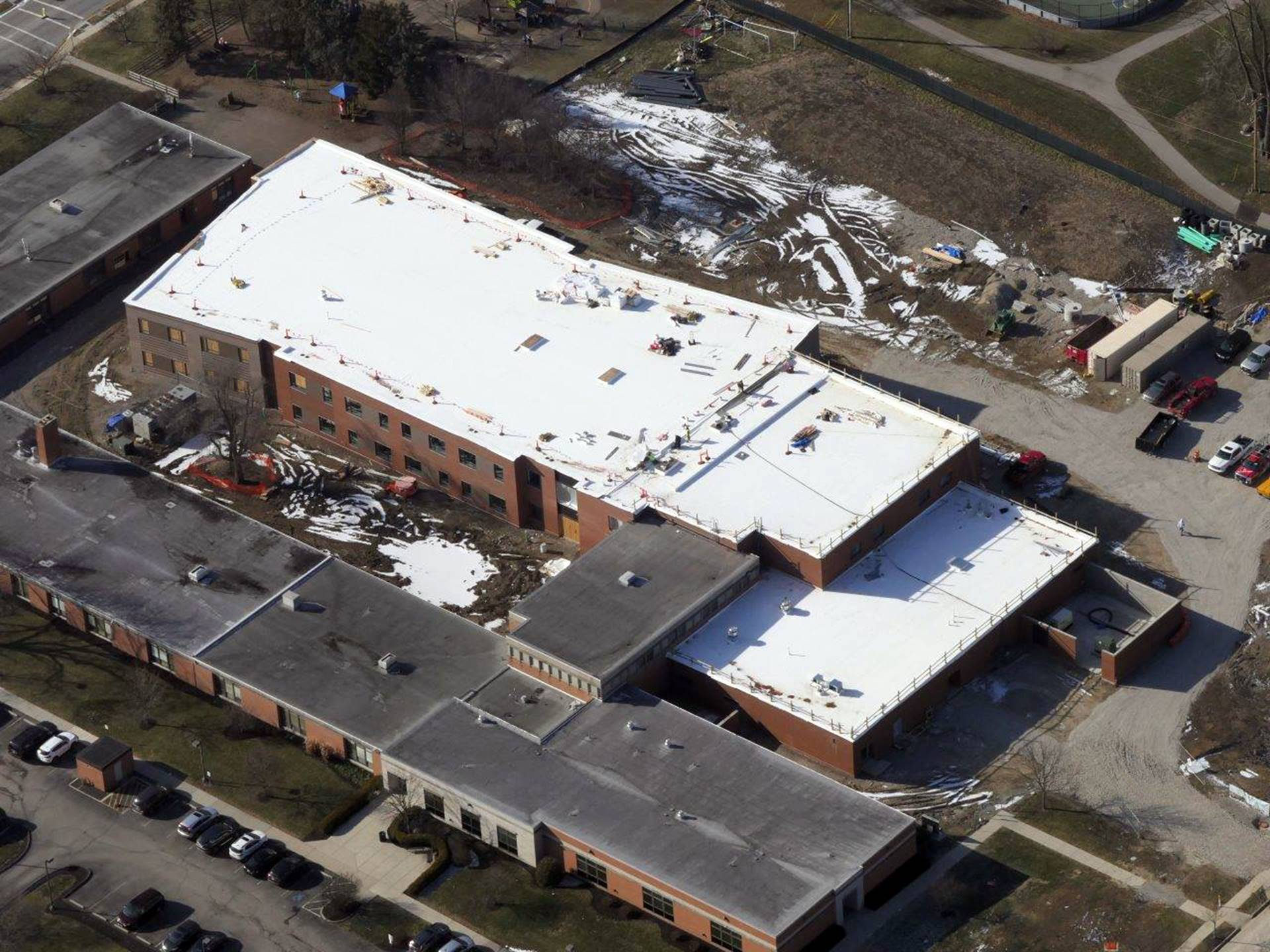 An aerial of the new Greenview Elementary School