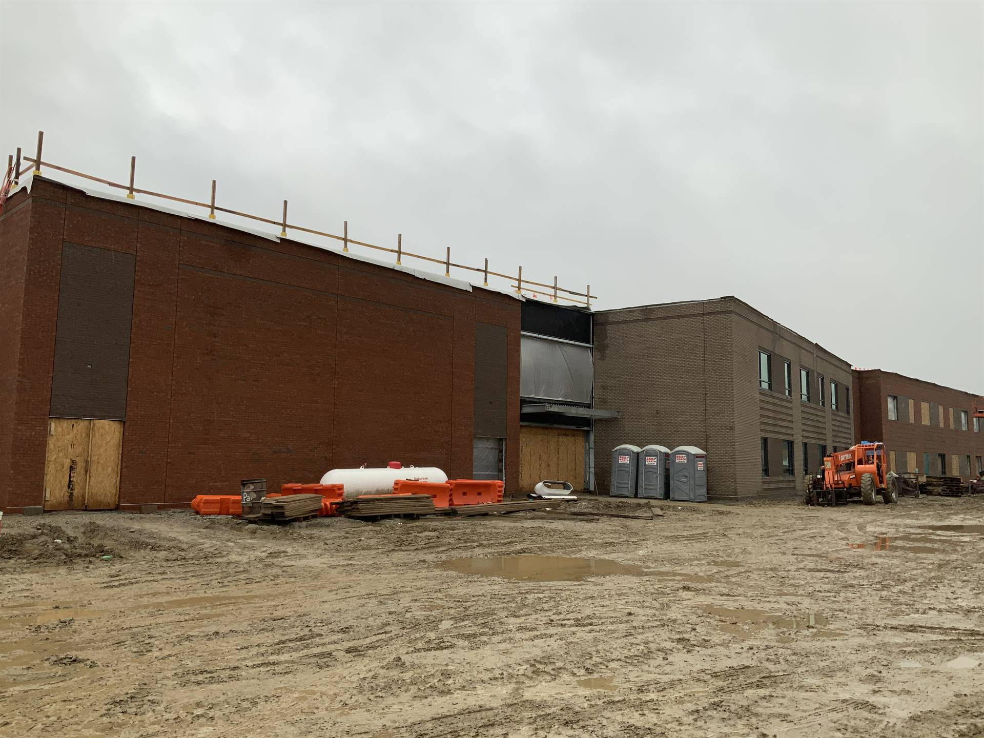 Brick work on the new Greensview Elementary School