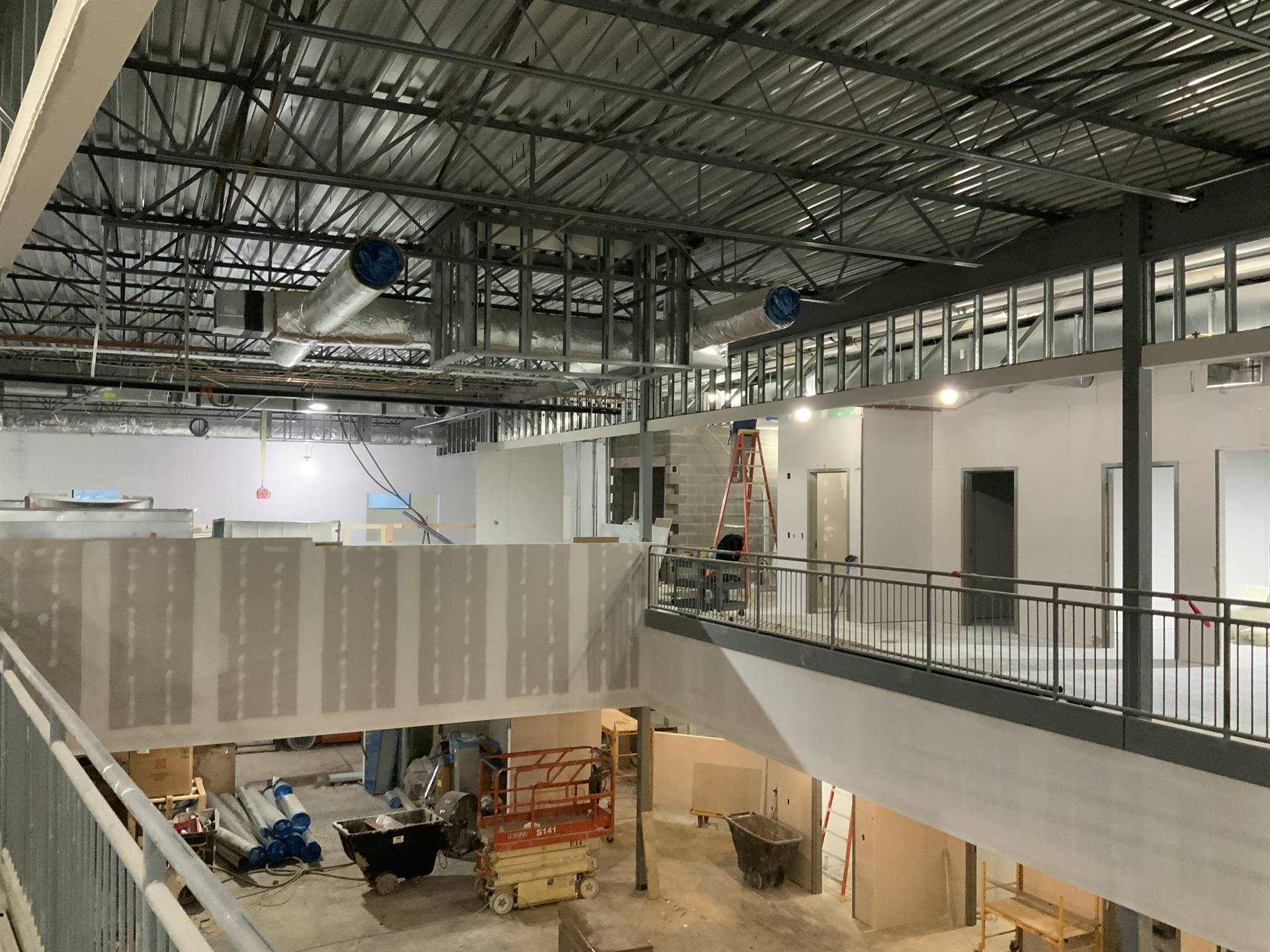 Interior drywall work on the new Greensview Elementary School