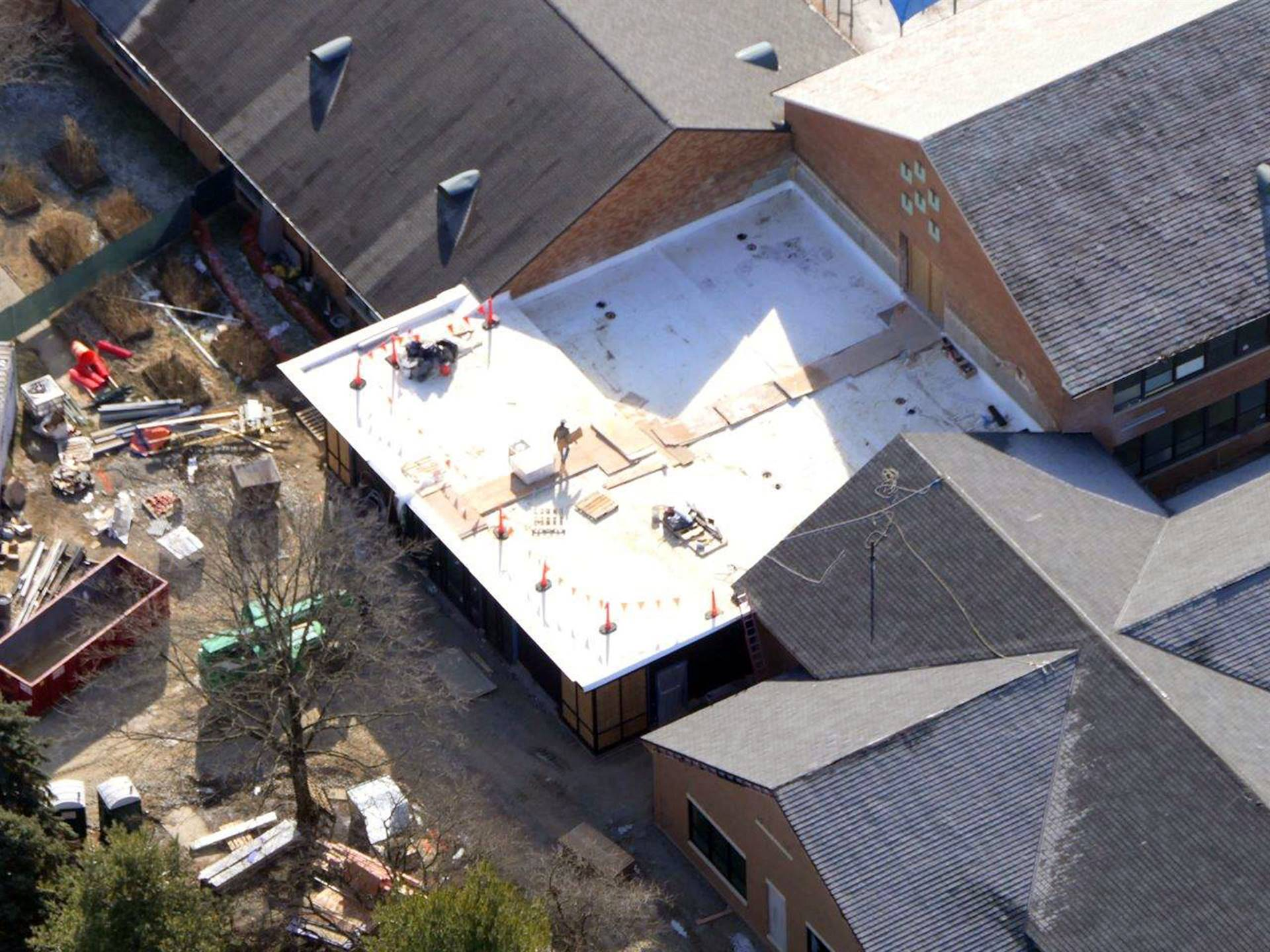 An aerial of the media center addition