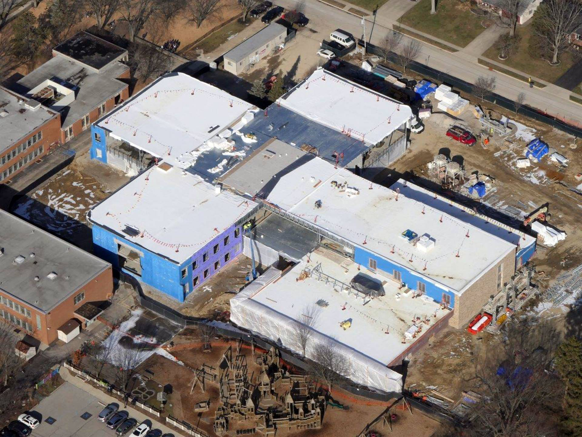 An aerial of the new Wickliffe Progressive Elementary School
