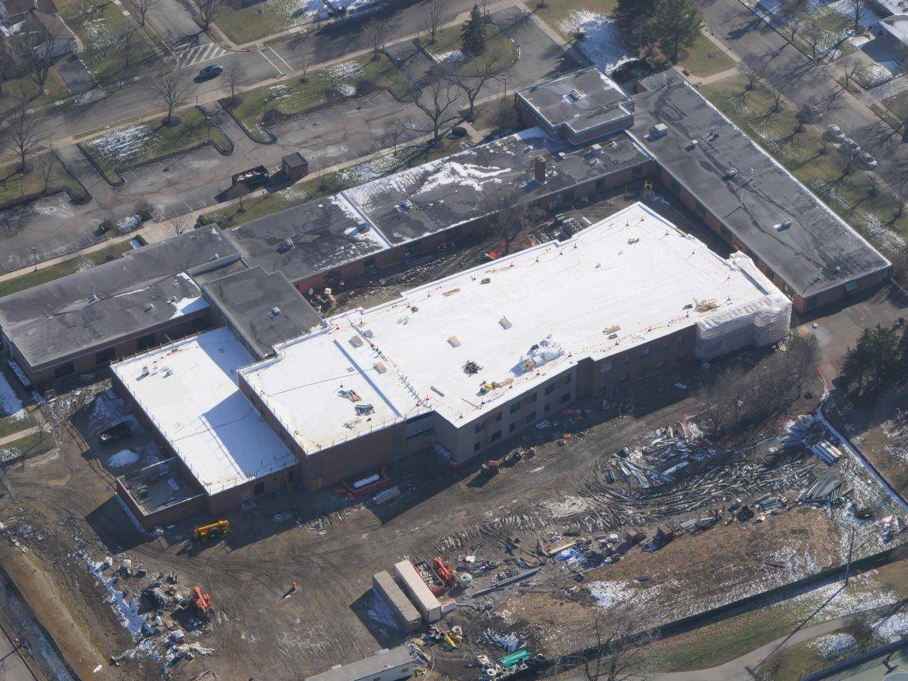 An aerial of Greensview Elementary School